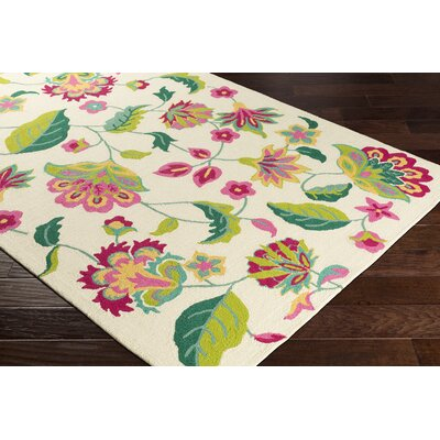 Pelchat Floral Hand-Hooked Ivory/Green Indoor/Outdoor Area Rug Rug Size: Rectangle  5 x 8