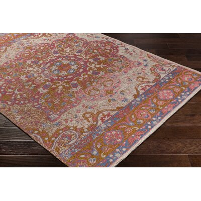 Pelaez Hand-Woven Gold/Pink Area Rug Rug Size: Rectangle 5 x 76