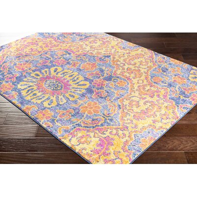 Pelagia Floral Saffron/Bright Pink Area Rug Rug Size: Rectangle 53 x 76
