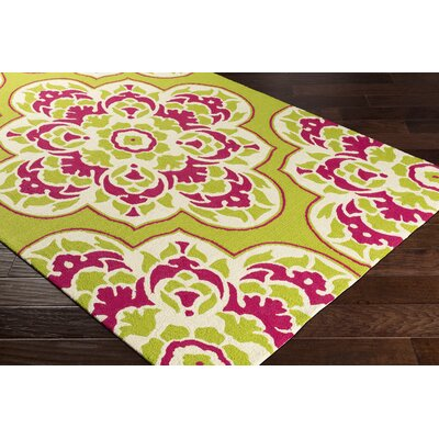 Pelchat Floral Hand-Hooked Lime Green/Pink Indoor/Outdoor Area Rug Rug Size: Rectangle 2 x 3