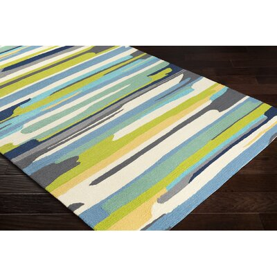 Farkas Hand-Hooked Cream/Lime Green Indoor/Outdoor Area Rug Rug Size: Rectangle 5 x 8