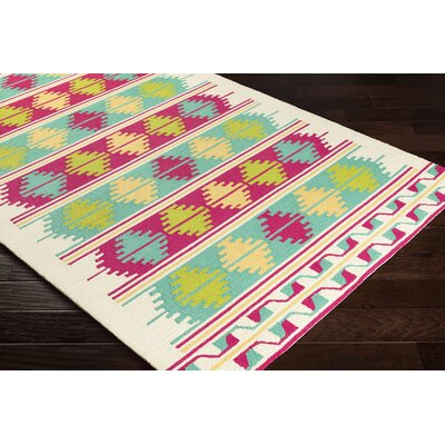 Pelchat Hand-Hooked Cyan/Pink Indoor /Outdoor Area Rug Rug Size: Rectangle 3 x 5
