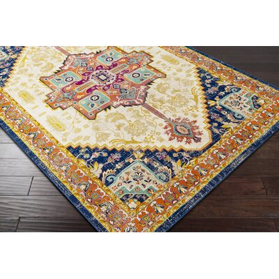 Pettus Floral Navy/Burnt Orange Area Rug Rug Size: Rectangle 52 x 76