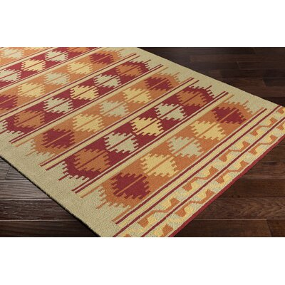 Pelchat Hand-Hooked Burnt Orange/Burgundy Indoor/Outdoor Area Rug Rug Size: Rectangle 3 x 5