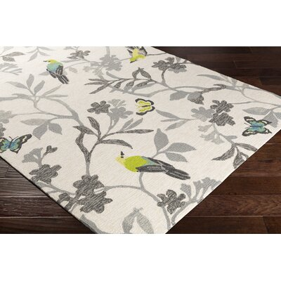 Muhja Hand-Hooked Lime Cream/Gray Indoor/Outdoor Area Rug Rug Size: Rectangle 5 x 8