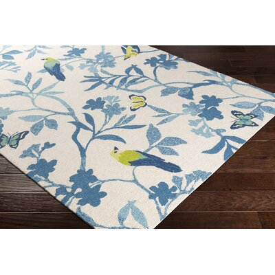 Muhja Hand-Hooked Ivory/Blue Indoor/Outdoor Area Rug Rug Size: Rectangle 3 x 5