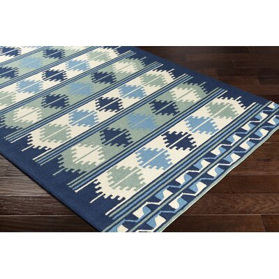 Pelchat Hand-Hooked Navy/Sage Indoor/Outdoor Area Rug Rug Size: Rectangle 8 x 10