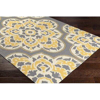 Pelchat Floral Hand-Hooked Gray/Yellow Indoor/Outdoor Area Rug Rug Size: Rectangle 9 x 12