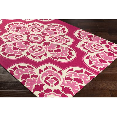 Pelchat Hand-Hooked Hot Pink Indoor/Outdoor Area Rug Rug Size: Rectangle 9 x 12