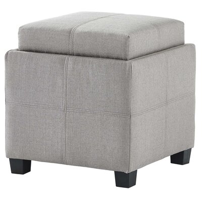 Pimentel Fabric Storage Cube Reversible Tray Lid Ottoman Upholstery: Light Gray