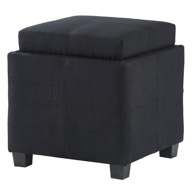 Pimentel Fabric Storage Cube Reversible Tray Lid Ottoman Upholstery: Black