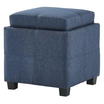 Pimentel Fabric Storage Cube Reversible Tray Lid Ottoman Upholstery: Blue Gray