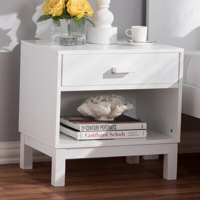 Hessler 1 Drawer Nightstand Color: White