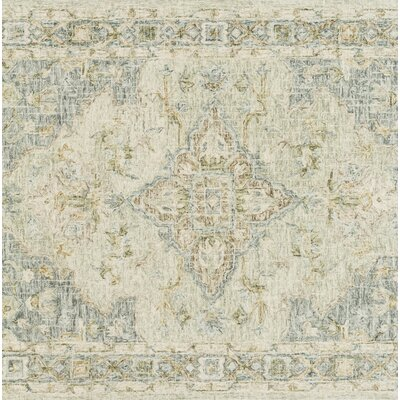 Fitzwater Hand-Hooked Wool Seafoam Green/Spa Area Rug Rug Size: Rectangle 5 x 76