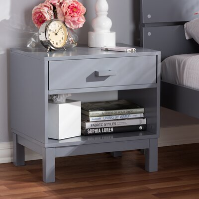 Hessler 1 Drawer Nightstand Color: Gray