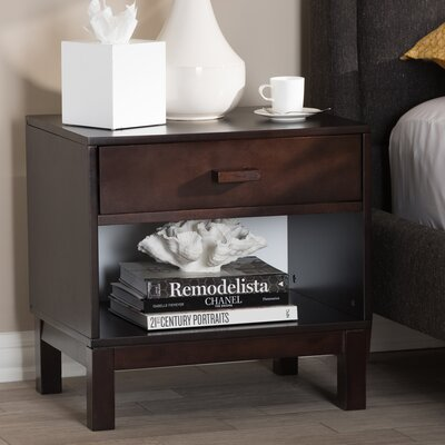 Hessler 1 Drawer Nightstand Color: Espresso