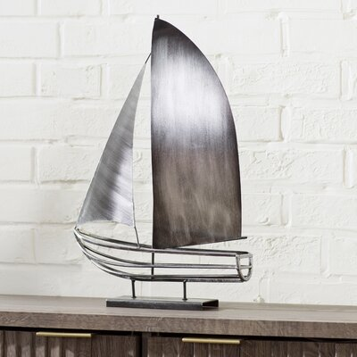 Kremmling Brushed Metal Sailboat Sculpture