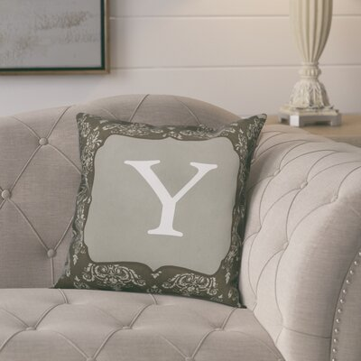Krahn Damask�Monogram Throw Pillow Letter: Y