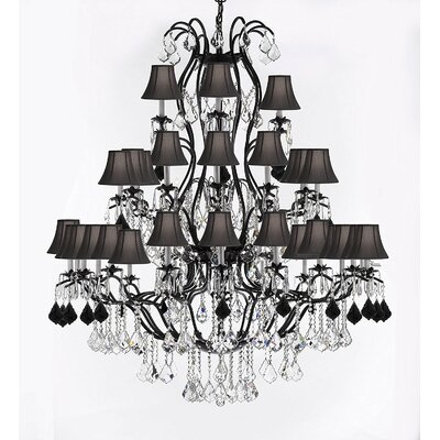Marshall Wrought 37-Light Crystal Chandelier Shade Color: Black