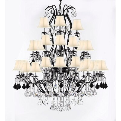 Marshall Wrought 37-Light Crystal Chandelier Shade Color: White