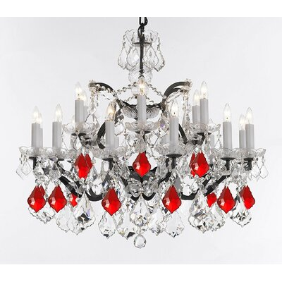 Alvan 18-Light Crystal Chandelier Size: 28 H x 30 W x 30 D, Crystal: Clear/Red