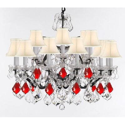 Borunda 18-Light Crystal Chandelier Shade Color: White, Size: 28 H x 30 W x 30 D, Crystal: Clear/Red