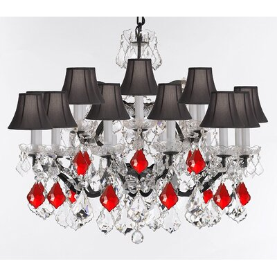 Borunda 18-Light Crystal Chandelier Shade Color: Black, Size: 28 H x 39 W x 30 D, Crystal: Clear/Red