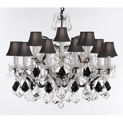 Borunda 18-Light Crystal Chandelier Shade Color: Black, Size: 28 H x 30 W x 30 D, Crystal: Clear/Black