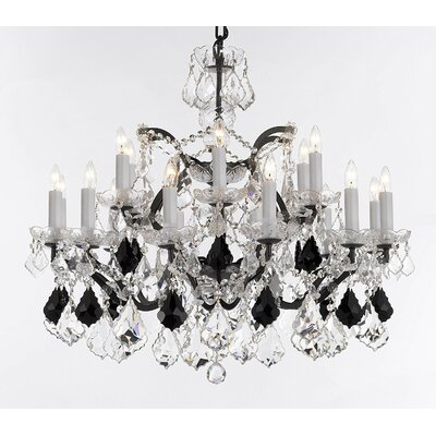 Marshall 18-Light Crystal Chandelier Crystal: Black
