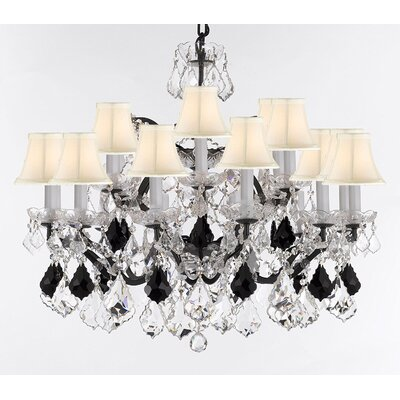 Borunda 18-Light Crystal Chandelier Shade Color: White, Size: 28 H x 30 W x 30 D, Crystal: Clear/Black