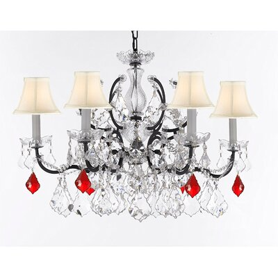 Marshall C. Rococo 6-Light Crystal Chandelier Shade Color: White, Crystal: Clear/Red