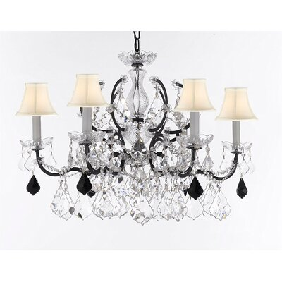 Marshall C. Rococo 6-Light Crystal Chandelier Shade Color: White, Crystal: Clear/Black