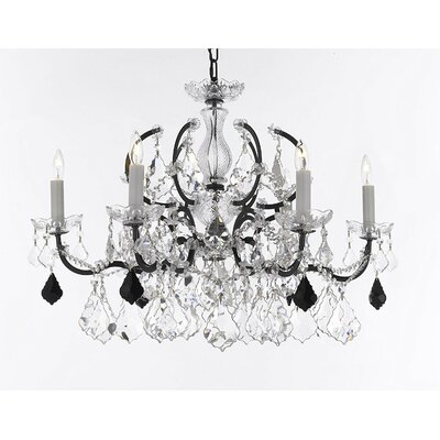 Marshall C. Rococo 6-Light Crystal Chandelier Crystal: Clear/Black