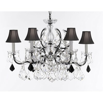 Marshall C. Rococo 6-Light Crystal Chandelier Shade Color: Black, Crystal: Clear/Black