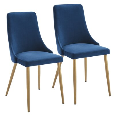 Heffernan Velvet Upholstered Dining Chair Upholstery: Blue