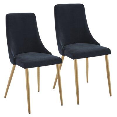 Heffernan Velvet Upholstered Dining Chair Upholstery: Black