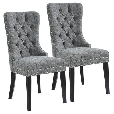 Meleze Multi Tone Fabric Upholstered Dining Chair Upholstery: Gray Blend