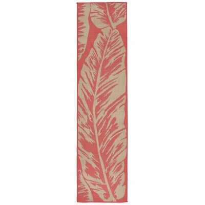 Hunley Banana Leaf Rust/Beige  Indoor/Outdoor Area Rug Rug Size: Runner 2 x 75