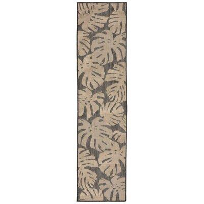Stillwater Fronds Gray/Beige Indoor/Outdoor Area Rug Rug Size: Runner 2 x 75