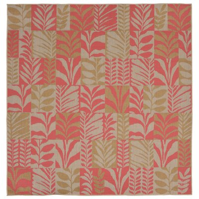 Hunley Leaves Rust/Beige Indoor/Outdoor Area Rug Rug Size: Square 79