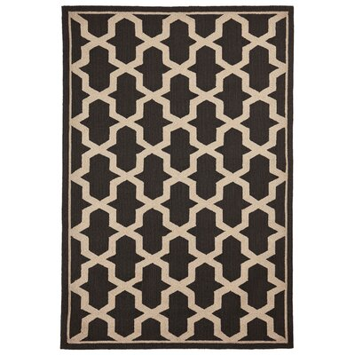 This Elam Geo Hand-Woven Brown Indoor/Outdoor Area Rug Rug Size: Rectangle 5 X 75