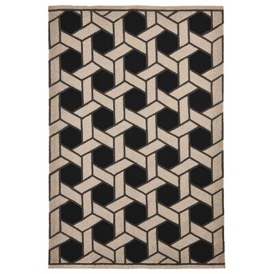 Elam Basket Hand-Woven Black/Beige Indoor/Outdoor Area Rug Rug Size: Rectangle 75 x 95