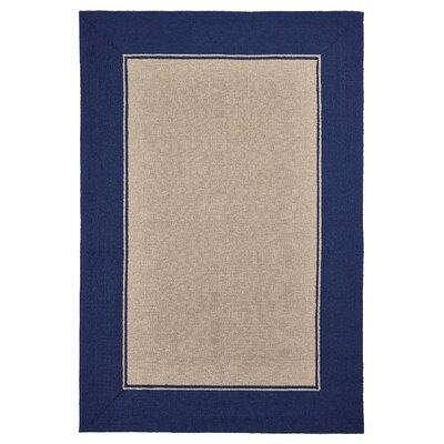 Elam Border Hand-Woven Blue/Beige Indoor/Outdoor Area Rug Rug Size: Rectangle 35 x 55