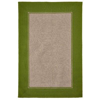 Elam Border Hand-Woven Green/Beige Indoor/Outdoor Area Rug Rug Size: Rectangle 35 x 55