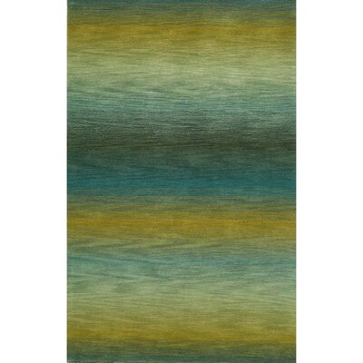 Kinman Ombre Stripes Hand-Woven Wool Blue/Yellow Indoor/Outdoor Area Rug Rug Size: Rectangle 5 x 75