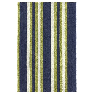 Cranford Strip Hand-Woven Green/Blue Indoor/Outdoor Area Rug