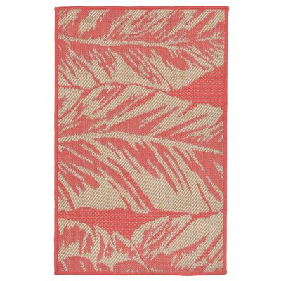 Hunley Banana Leaf Rust/Beige  Indoor/Outdoor Area Rug Rug Size: Rectangle 2 x 3