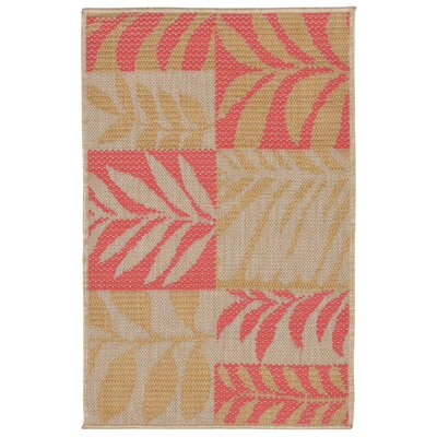 Hunley Leaves Rust/Beige Indoor/Outdoor Area Rug Rug Size: Rectangle 2 x 3