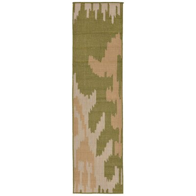Gorski Ikat Green/Ivory Indoor/Outdoor Area Rug Rug Size: Runner 2 x 75
