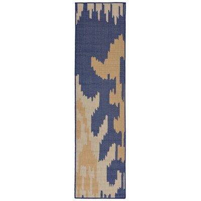 Finklea Ikat Blue/Beige Indoor/Outdoor Area Rug Rug Size: Runner 2 x 75